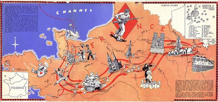 WWII-A-map-of-Europe,-of-the-5th-Infantry-Div